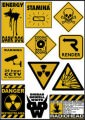 Warning Signs Logo Stickers Set (Z4)